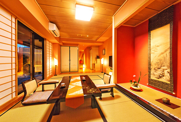 Japanese Room (maximum 4 persons) with private modern rock-garden / Japanese garden side